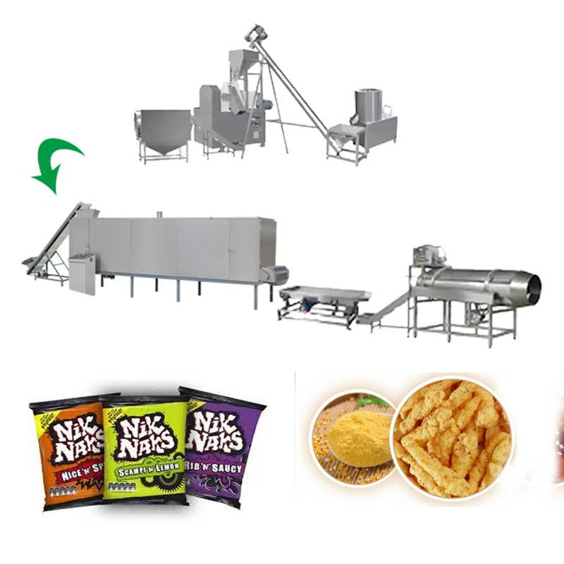 Snack Food Fried Nik Naks Fried Cheetos Extruder Machine With Frying System
